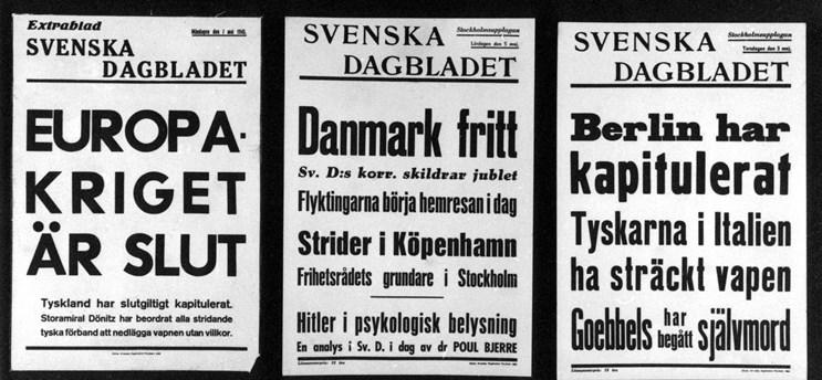 Löpsedlar från krigsslutet 1945. Foto: TT.