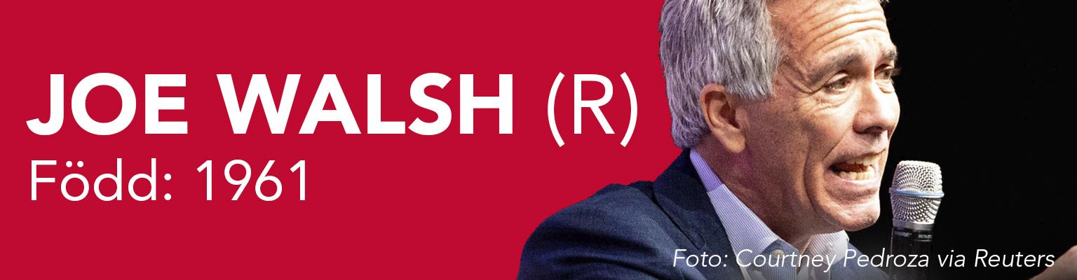 Joe Walsh ställer upp för republikanerna. Han är född 1961