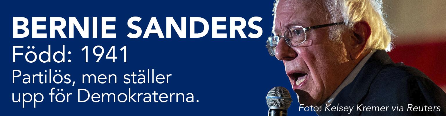 Bernie Sanders är egentligen partilös men ställer i presidentvalet upp för Demokraterna. Han är född 1941.