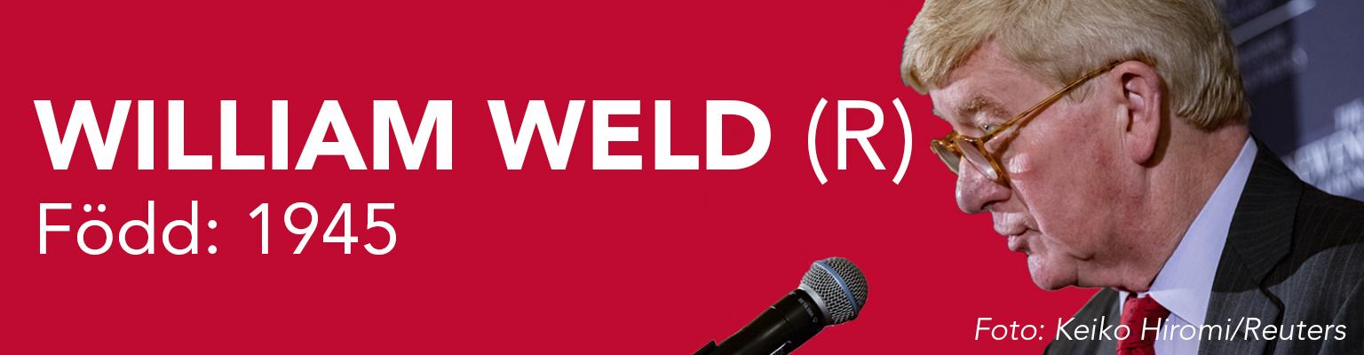 William Weld ställer upp för republikanerna. Han är född 1945