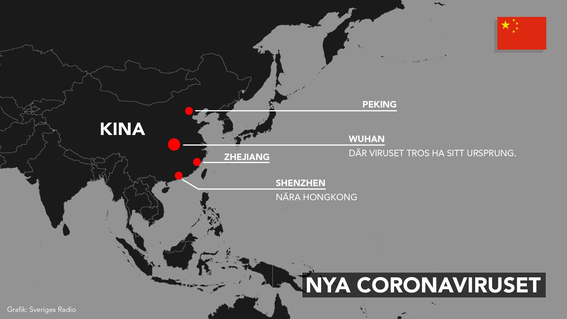 karta över nya coronavirusets spridning