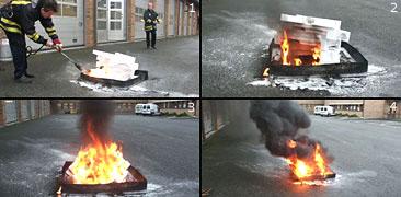 Räddningstjänsten i Jönköping demonstrerar hur lätt cellplast, frigolit, brinner. Foto: Räddningstjänsten i Jönköping.