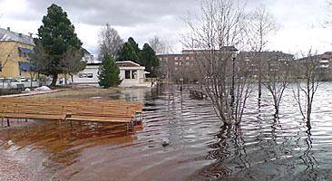 Översvämning i Brännastrand i centrala Boden. Foto: Calle Andersson/SR Norrbotten.