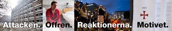 Bildmontage från attentaten i Norge. Foto: Scanpix/Montage: Sveriges Radio.