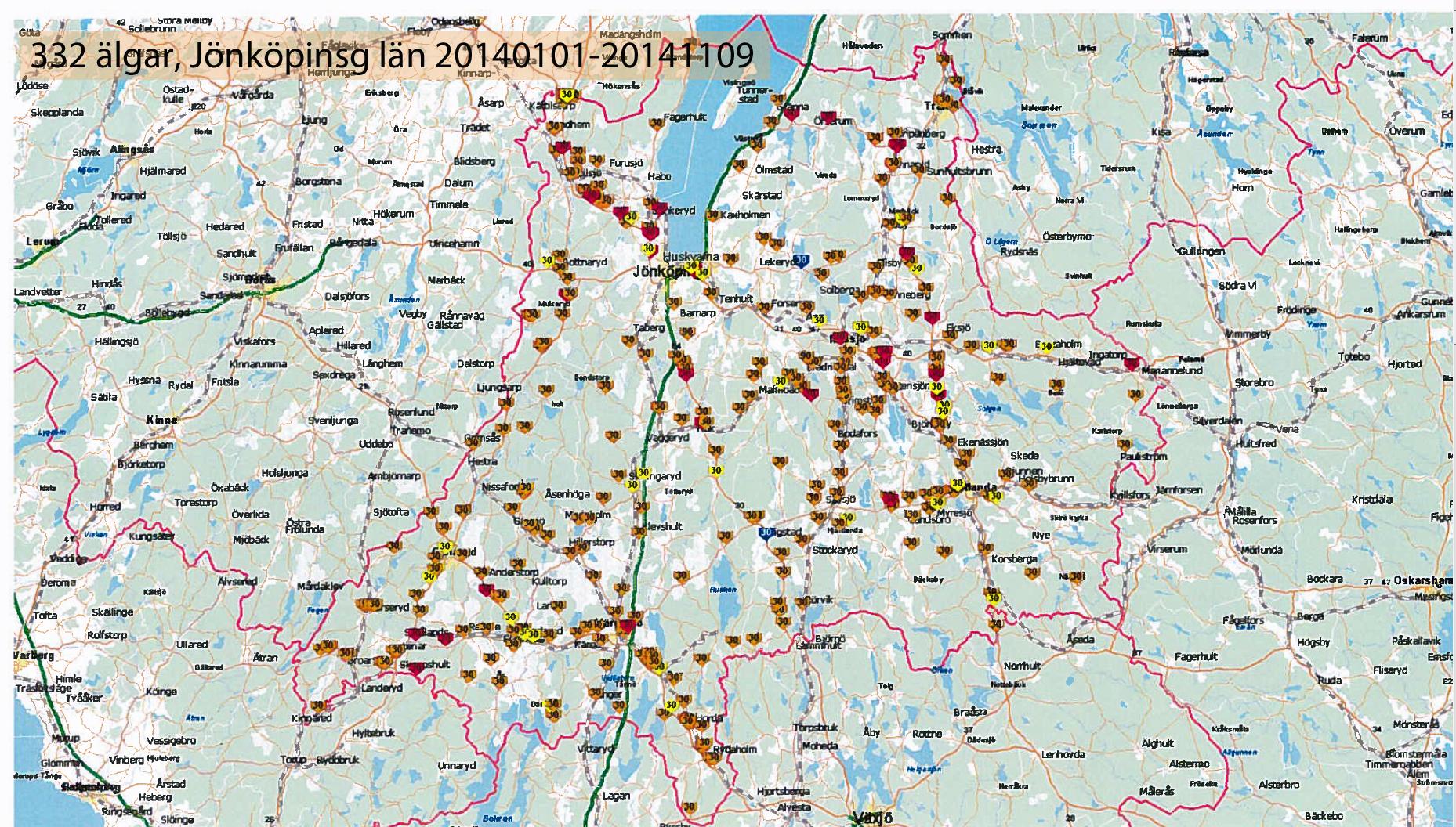 karta jönköpings län Polisens prognos: Över 200 fler viltolyckor i år   P4 Jönköping  karta jönköpings län