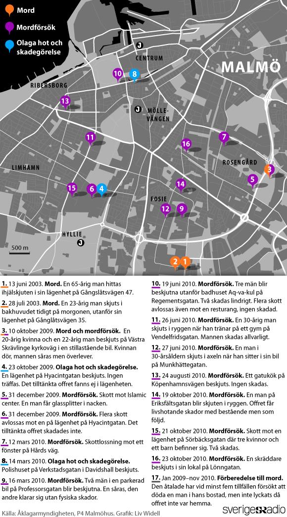 Nu får vi se en karta över samtliga brottsplatser. Här är är våran karta över brotten.