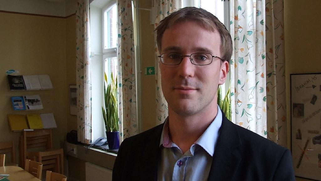Fredrik Axelsson, gruppledare för Moderaterna Kristianstad. Foto: Fabian Rimfors/Sveriges Radio