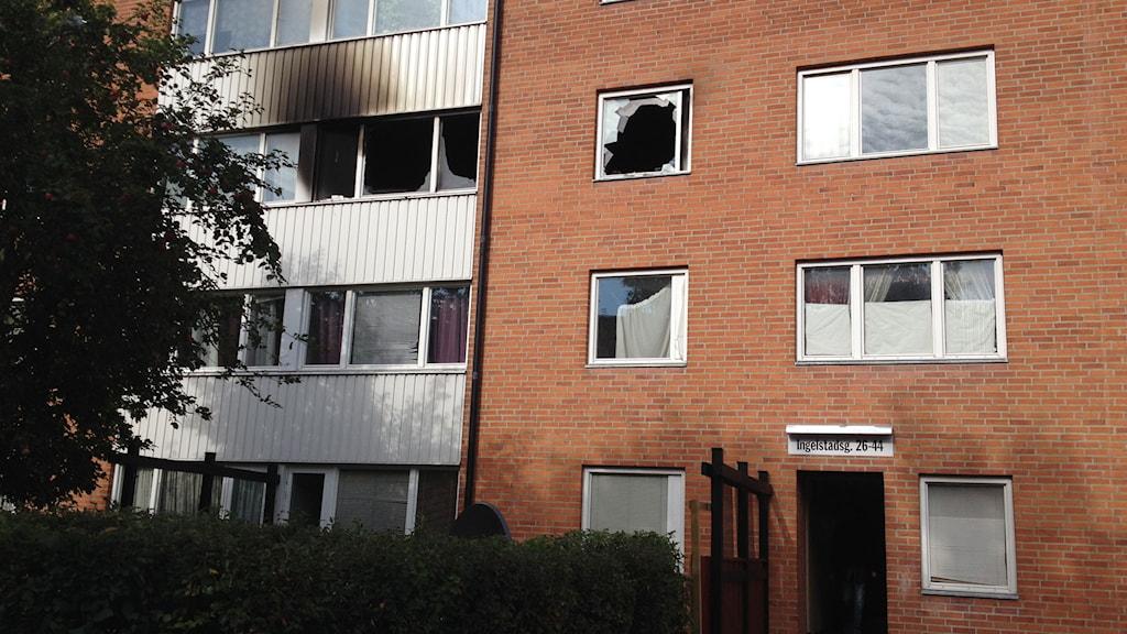 Lägenhetsbrand Näsby. Foto: Jenny Sandgren/Sveriges Radio