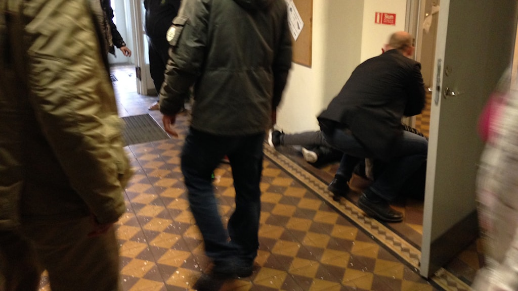 Säpo detained the suspect and moved the minister out of the way. Photo: Dajana Kovacevic/Sveriges Radio.