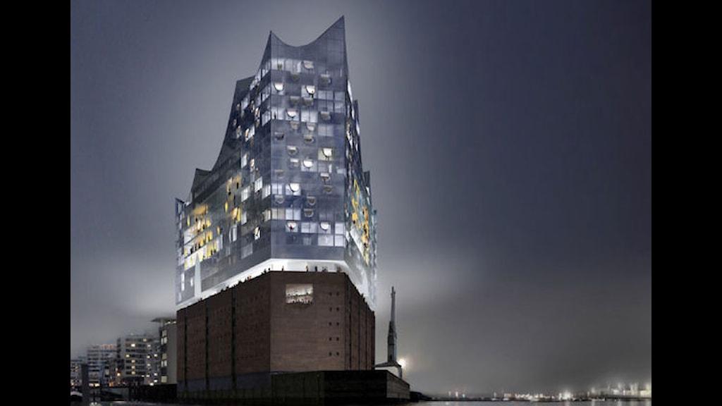 Konserthuset Elbphilharmonie som det är tänkt