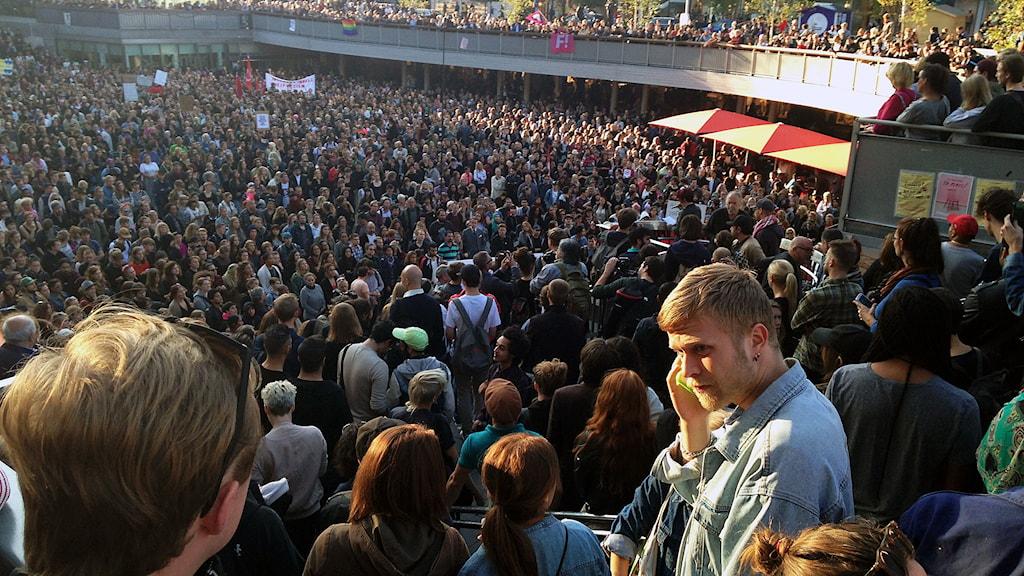 Tusentals människor samlade vid demonstrationen på Sergels torg i Stockholm. Foto: Marina Nilsson/Sveriges Radio