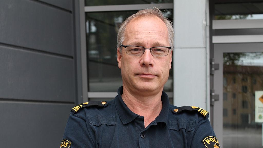 Robert Loeffel, informationsvansvarig Kronobergspolisen. Foto: Sandra Douglasdotter/ Sveriges Radio