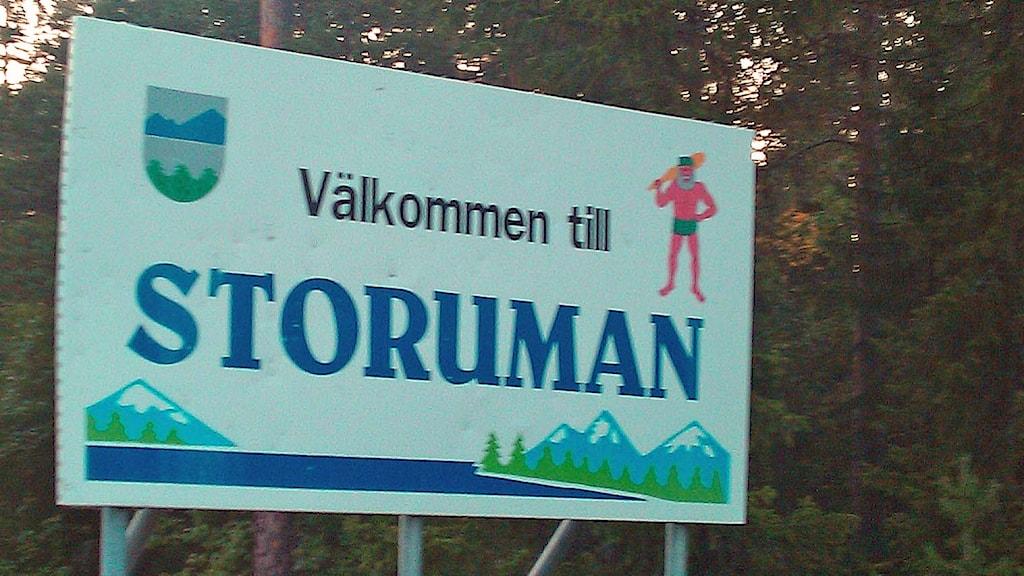 Skylt välkommen till Storuman