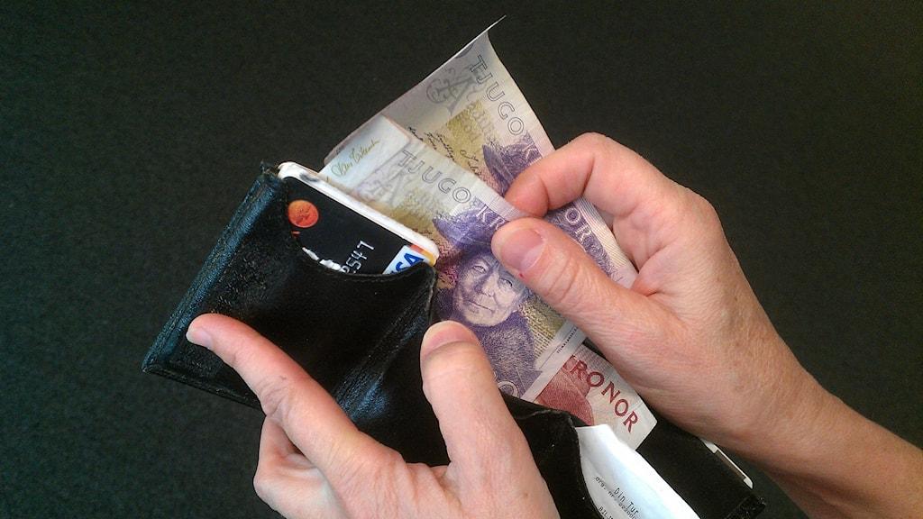 Pengar, insamling, plånbok, börs. Foto: Peter Öberg/Sveriges Radio