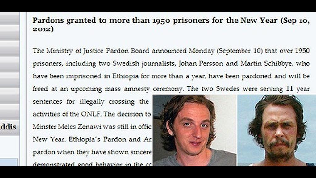 Etiopiens UD meddelade benådan på sin hemsida. Källa: mfa.gov.et Foto: Scanpix/Sveriges Radio.