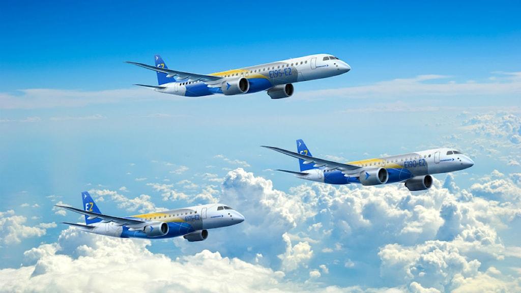 """Embraers """"flygplansfamilj"""" E – i olika versioner som kommer att drivas av Pratt-motorer med komponenter från GKN, dels anläggningen i Trollhättan. Bild: GKN."""