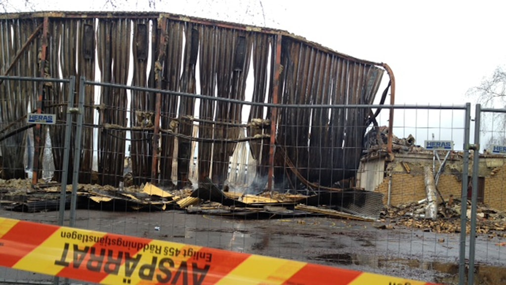 Skogstorps idrottshall blev helt nedbränd.Foto Samira Othman