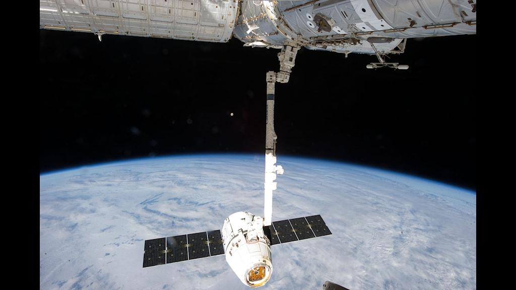 Det privata företaget SpaceX:s rymdfarkost Dragon-2 dockar med den internationella rymdstationen ISS. (Foto: NASA/TT)