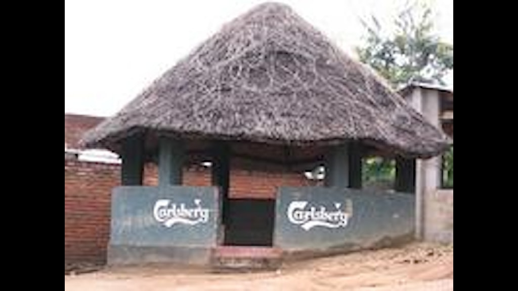 Carlsberg logo on house in Malawi. Photo: Anders Holmberg