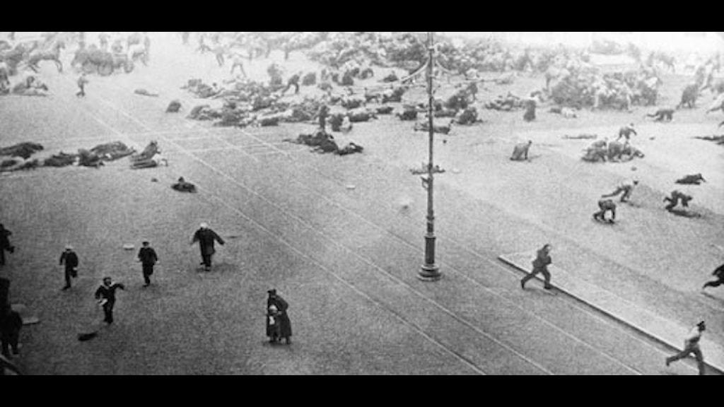 Petrograd i juli 1917. Foto: SVT bild
