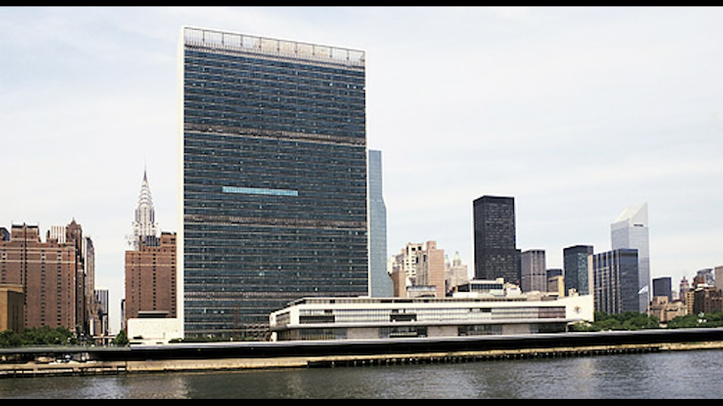 FN:s högkvarter vid East River på Manhattan i New York. SVT bild.