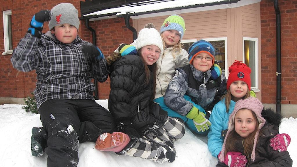 Från vänster William Grans, Melissa Hauswald, Maja Anagrius, Kevin Söderlund, Julia Berghov Uhlin och Julia Holmgren. Alla elever på östra skolan i Falun.