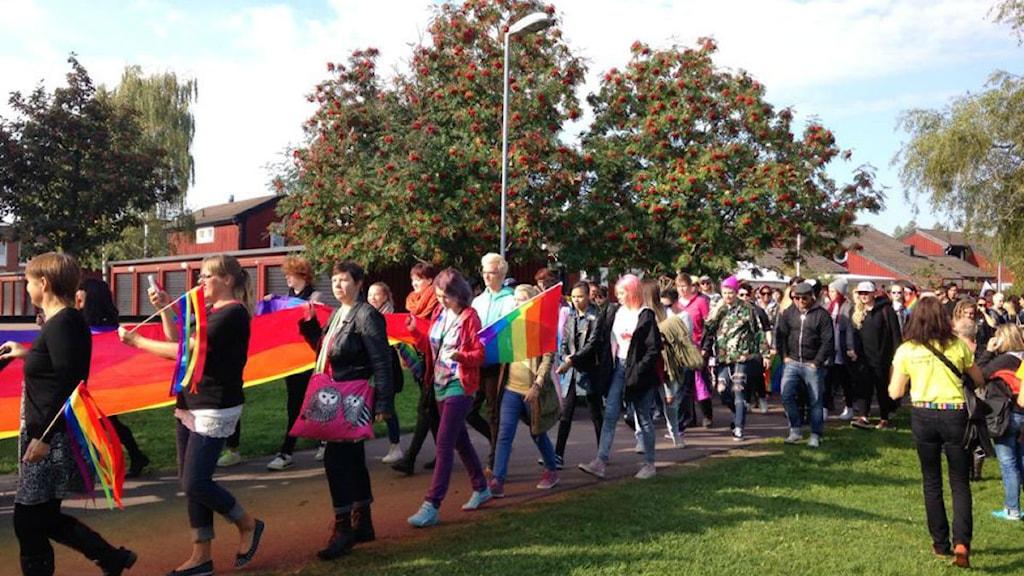 Många regnbågsflaggor i paraden. Foto: Erik Nilsson/P4 Dalarna