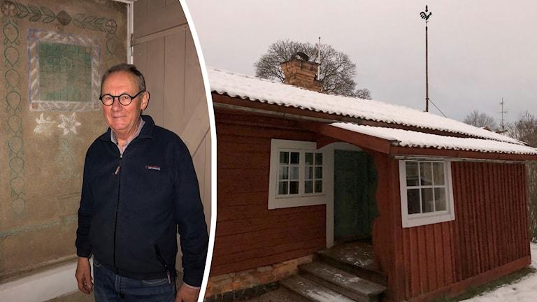 Björn Henriksson granne med en av konstnären Carl ...