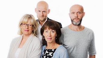 Jörgen Huitfeldt, Helena Groll, Lasse Johansson och Li Hellström. Foto: Sveriges Radio