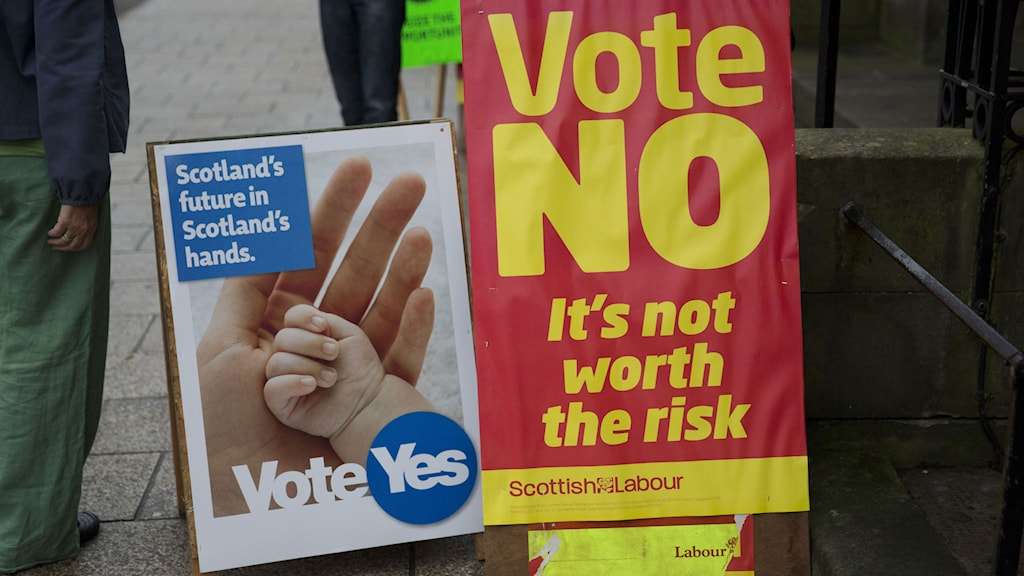 Idag avgörs det om Skottland ska bryta sig loss från Storbritannien. Foto: Matt Dunham/TT.