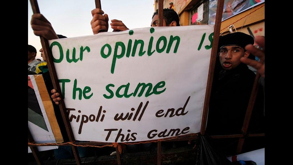 Protester i Benghazi. Foto: AP Photo/Hussein Malla/Scanpix