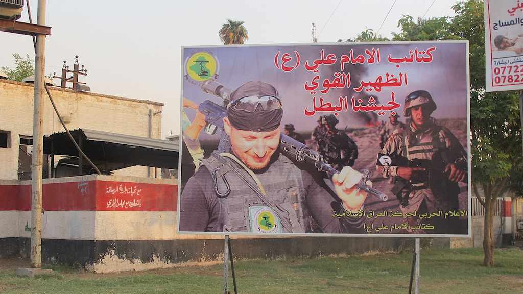 Plakat för shiamiliser i Bagdad. Foto: Katja Magnusson/Sveriges Radio