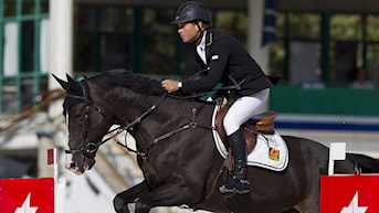 Sweden's Rolf-Goran Bengtsson , riding 'Quintero la Silla,' clears a jump during Cepsa Trophy 2011 in Club de Campo of Madrid, Spain, Friday Sept. 16, 2011. (AP Photo/Angel Navarrete