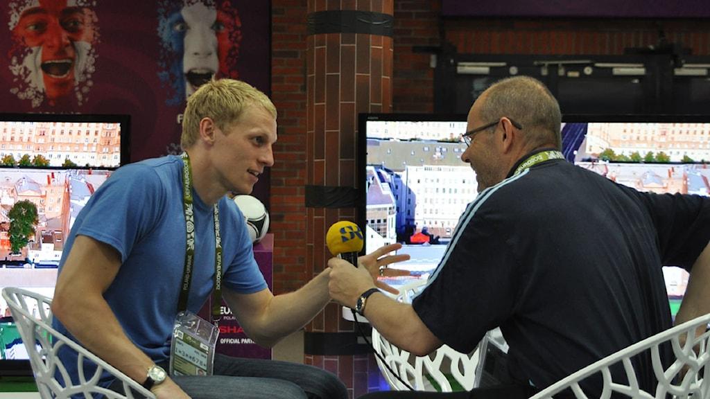 2012 Radiosportens Richard Henriksson och Dag Malmqvist. Foto: Jakob Sillén/Sveriges Radio