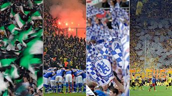 Collage fotbollsfans