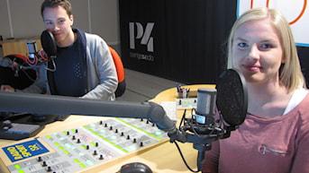 Alexander Lundholm och Petra Svensson. Foto: Martin Sundelius/Sveriges Radio.