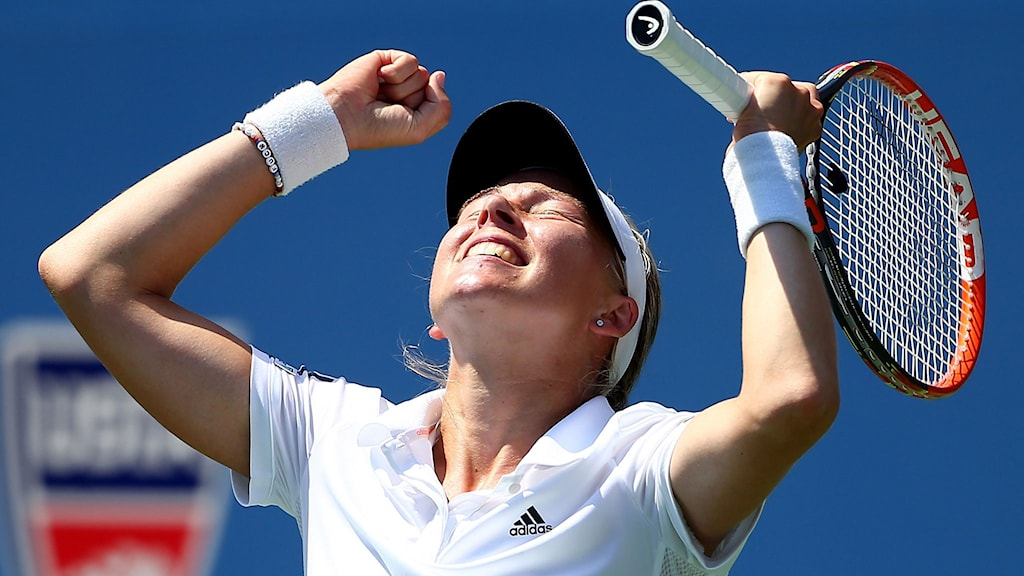 NEW YORK, NY - AUGUST 27: Johanna Larsson of Sweden reacts after defeating Sloane Stephens of the United States to win their women's singles second round match on Day Three of the 2014 US Open at the USTA Billie Jean King National Tennis Center on August 27, 2014 in the Flushing neighborhood of the Queens borough of New York City. Streeter Lecka/Getty Images/AFP