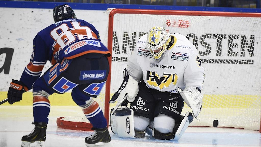 Liam Reddox gör 1-0 för Växjö mot HV71. Foto: TT Nyhetsbyrån