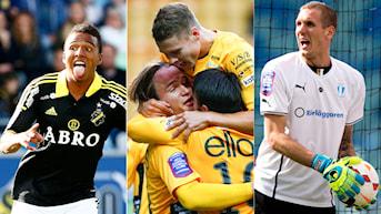 AIK, Elfsborg och Malmö är de tre topplagen efter 22 spelade omgångar. Foto: TT Kollage: SR