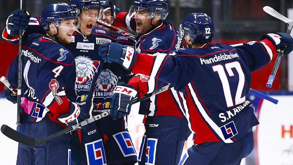 LINKÖPING 2014-09-15 LHC jubel efter 1-0 av Oscar Sundh under måndagens ishockeymatch i SHL mellan Linköpings HC och Djurgården Hockey på Saab Arena i Linköping. Foto: Stefan Jerrevång / TT.