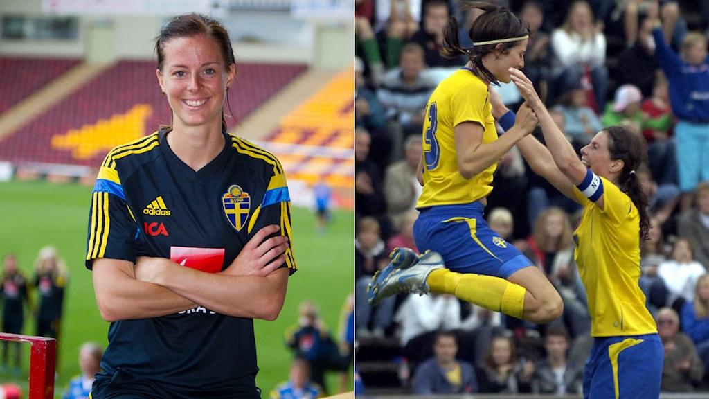 Till höger: Lotta Schelin grattas av Malin Moström efter målet i VM-kvalet 2005. Foto: TT Kollage: SR