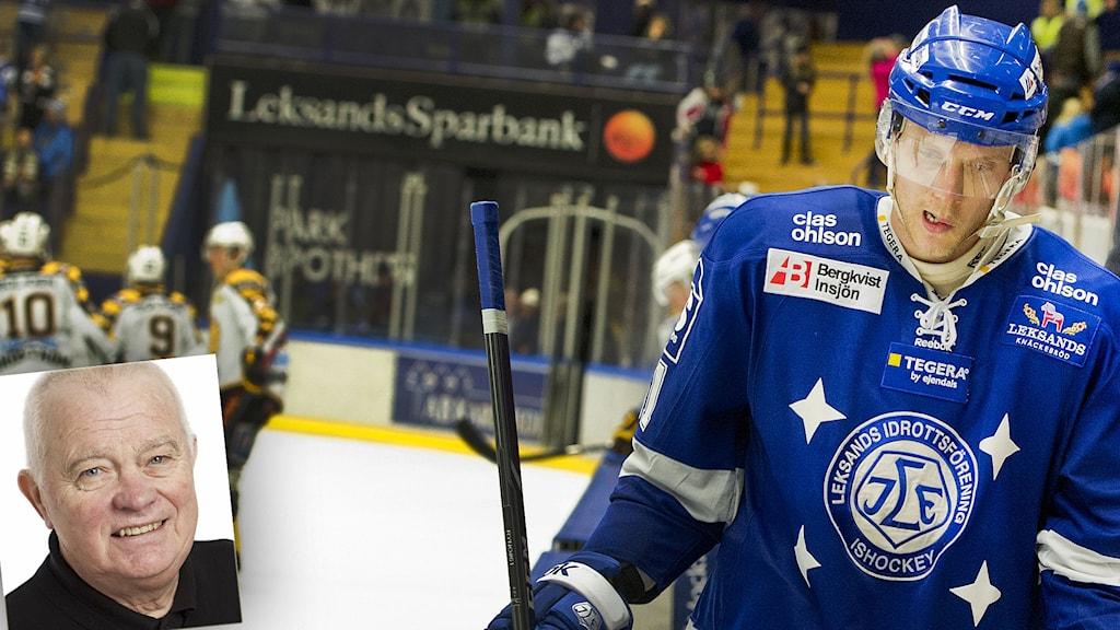 Leksands Johan Ryno. Infälld i nedre vänstra bildkant: Radiosportens L-G Jansson. Foto: Ulf Palm/TT.