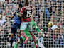 West Ham's Diafra Sakho, 15, scores his side's second goal past Manchester City's Gael Clichy, left, and goalkeeper Joe Hart during the English Premier League soccer match between West Ham and Manchester City at Upton Park stadium in London, Saturday, Oct. 25, 2014. AP Photo/Matt Dunham