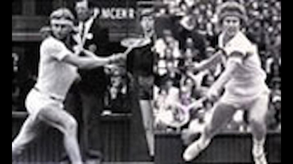 BJÖRN BORG - FINALEN MOT JOHN MCENROE, WIMBLEDON 1980. FOTO: UPI/JOHN MCENROE, WIMBLEDON-FINALEN 1980, BJÖRN BORG - JOHN MCENROE. FOTO UPI/RAY LETKEY/PRB