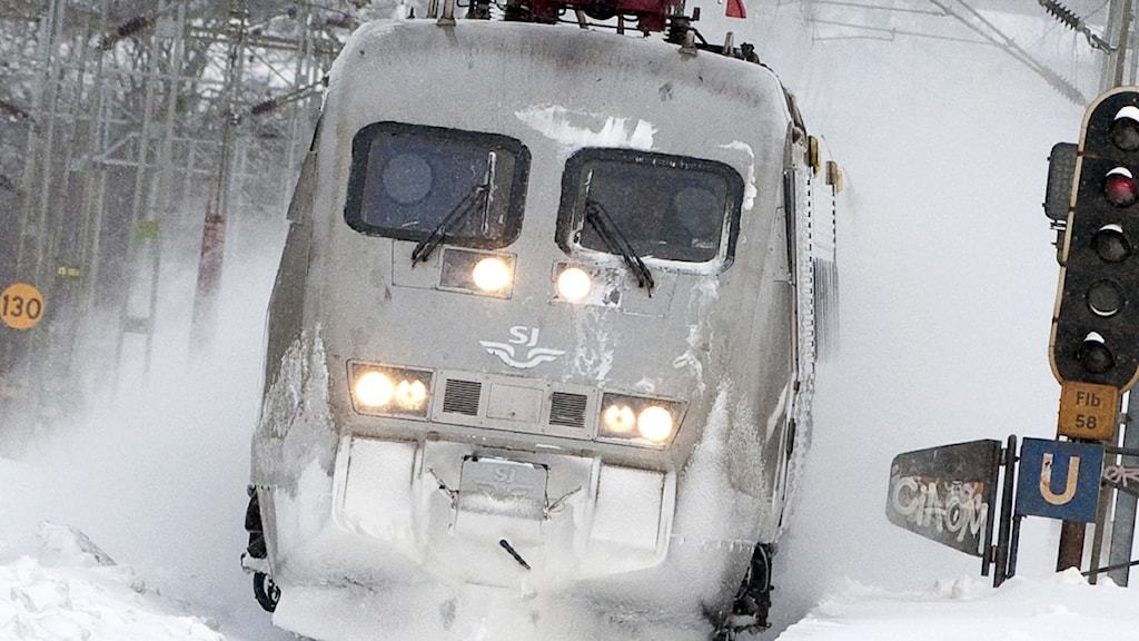 SJ-tåg i snö. Foto: Johan Nilsson/Scanpix.