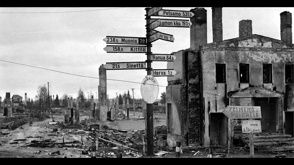 Rovaniemi vuonna 1944. Tänä vuonna tulee kuluneeksi 70 vuotta Moskovan välirauhasta. Foto: TT