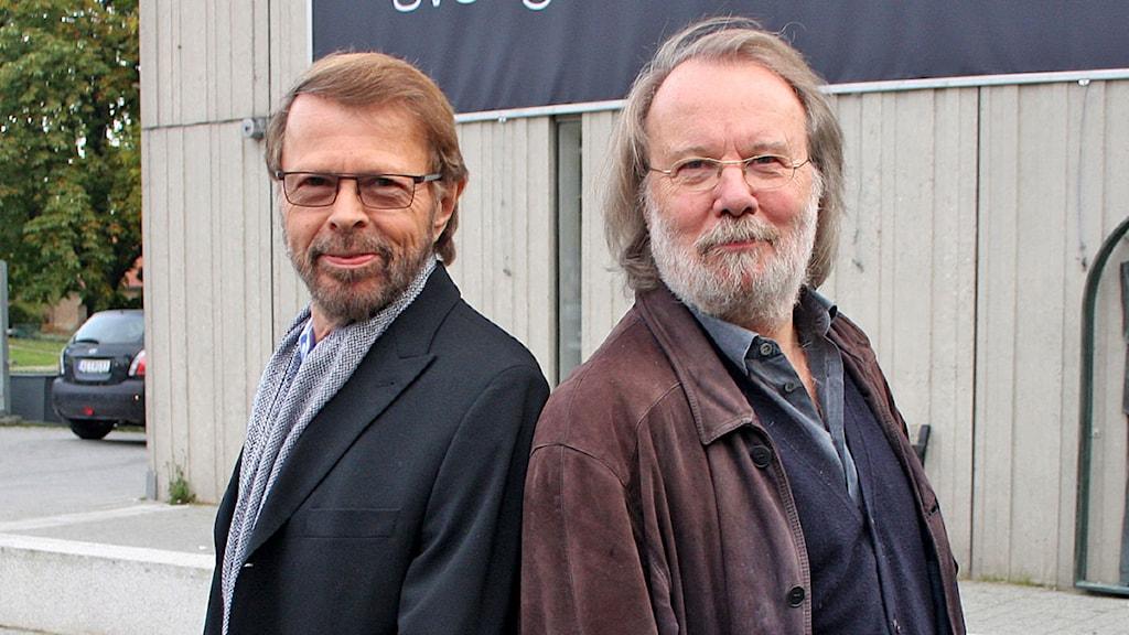 Finbesök på Radiohuset i Stockholm. Björn Ulvaeus och Benny Andersson. Foto: Benjamin Thorén / Sveriges Radio