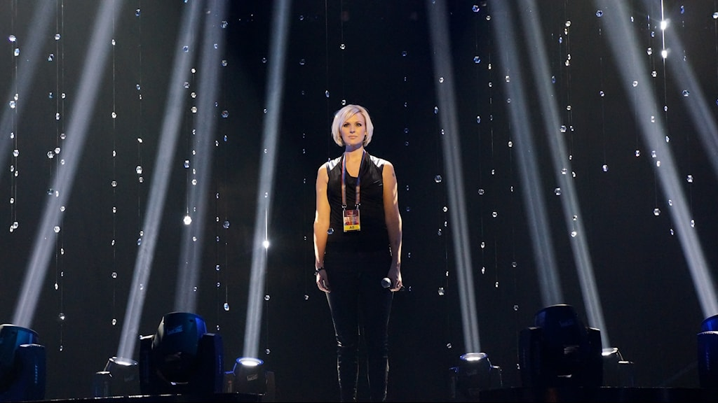 "Sanna Nielsen gets ready to rehearse her song ""Undo"". Photo: Kris Boswell/Sveriges Radio"