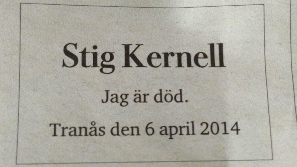 Obit Stig Kernell