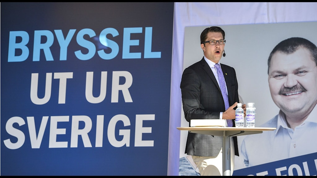 Sweden Democrat party leader Jimmie Åkesson launches the party's EU-election campaign. Photo: Anders Wiklund / TT